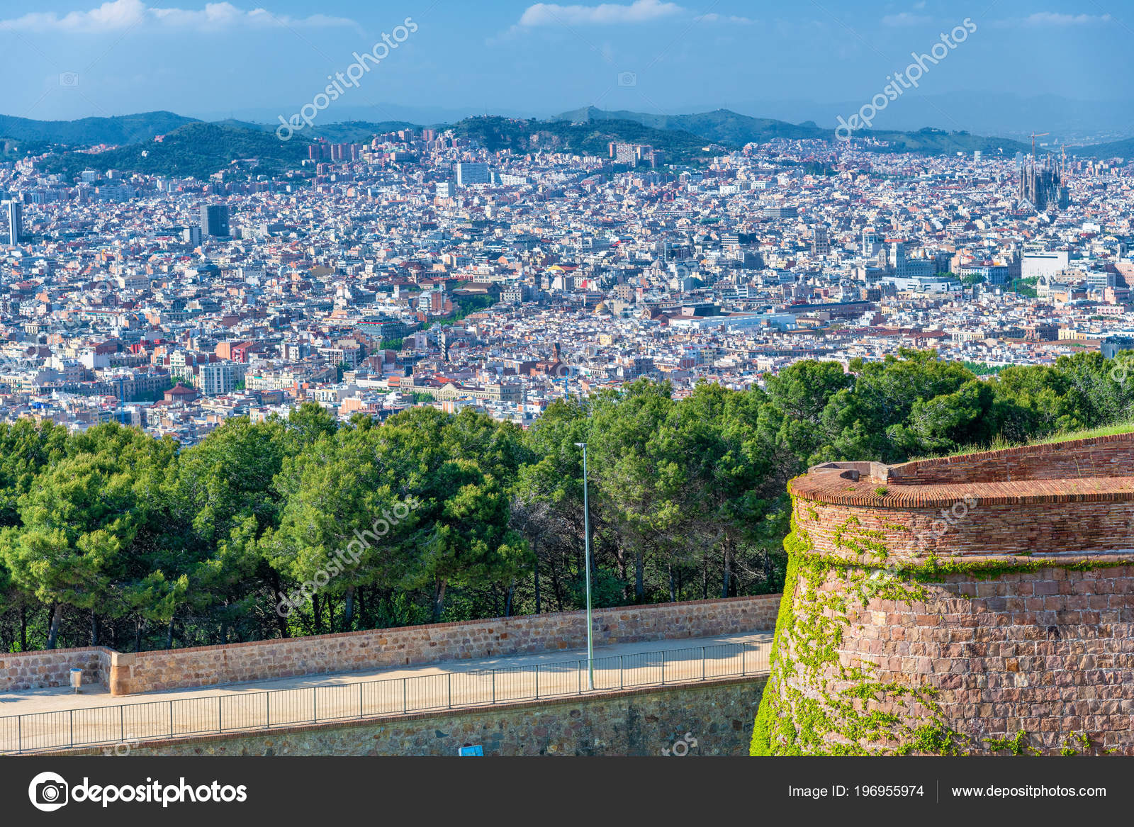 Aerial View Barcelona Castle Montjuic Spain Stock Photo C Jovannig