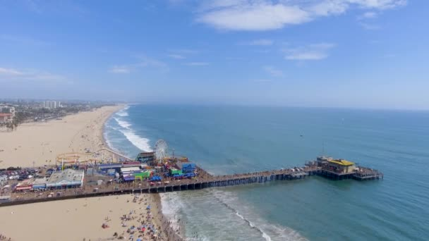 aerial view of Santa Monica Pier, large double-jointed pier in Santa Monica, California, USA, video