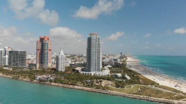 Amazing aerial view of Miami Beach and coastline at sunset, Florida.