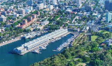 Aerial overhead view of Cowper Wharf in Sydney, Australia.