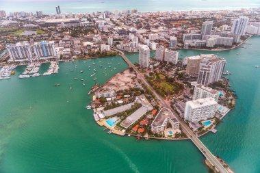 Aerial view of Belle Isle, Venetian Way and Miami Beach skyline, Miami - Florida.
