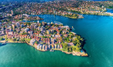 Helicopter view of Kirribilli in Sydney, New South Wales, Australia.