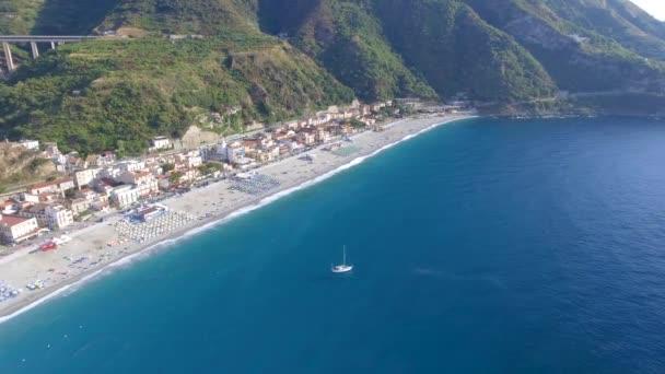 Aerial view of Scilla coastline in Calabria, Italy, video
