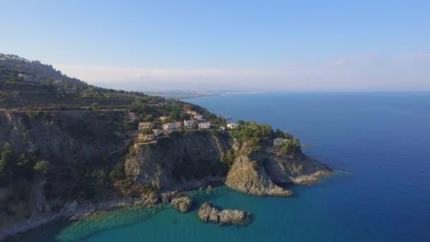 Aerial view of bridge and Calabria coastline, Italy, video