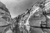 Fotografie Antelope Canyon černobílý pohled, Lake Powell, Arizona
