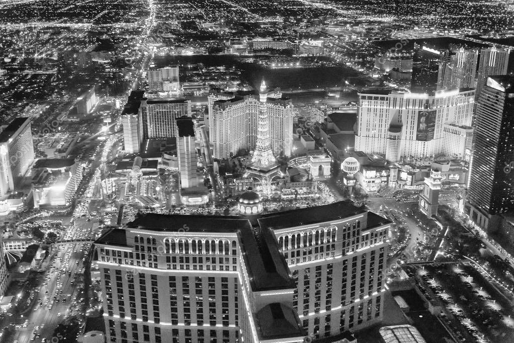 Las Vegas Strip Casinos at night from the helicopter. Night lights of Nevada, USA.