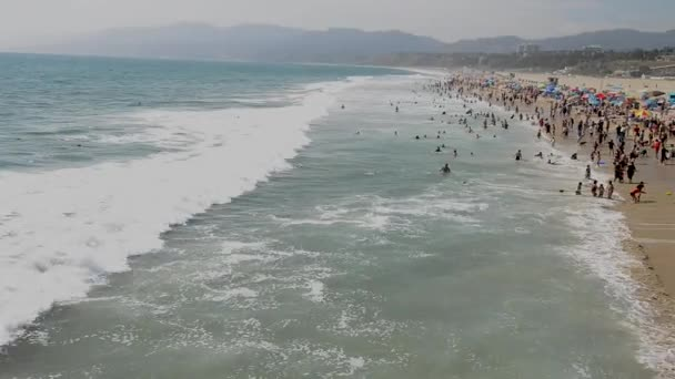 aerial view of Santa Monica State Beach, California State Park operated by the city of Santa Monica, California, USA, video