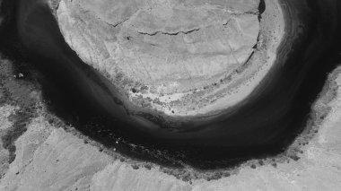 Black and white aerial view of Horseshoe Bend, Arizona.