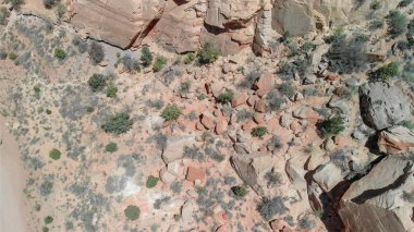 Overhead aerial view of mountain rocks, american canyon.