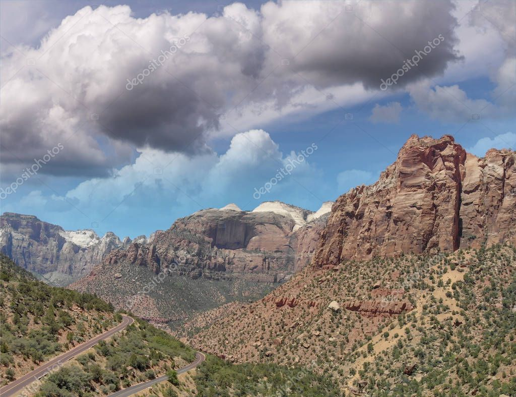 Zion National Park, aerial view from drone.