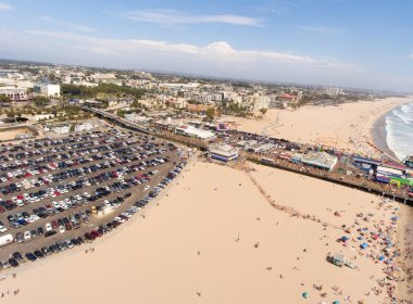 Aerial view of Santa Monica Beach, California.