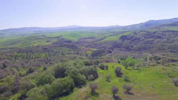 panoramic aerial view of Tuscany hills in spring season, video