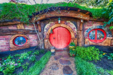 Matamata, New Zealand. Hobbiton - Movie set - Lord of the rings.