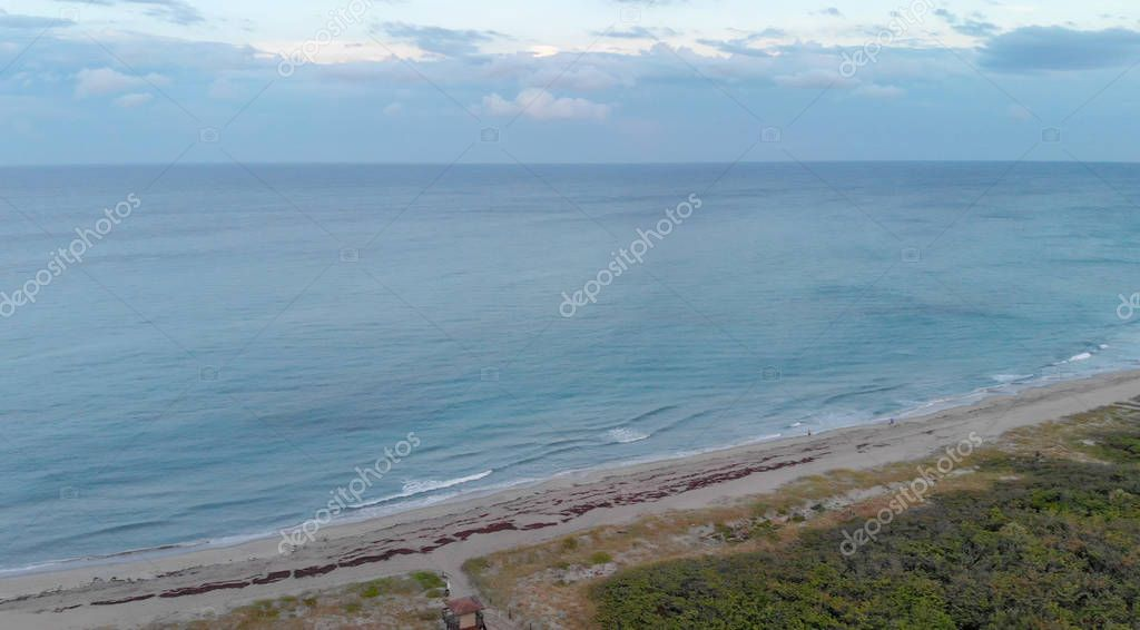 Aerial view of Boca Raton oceanfront at sunset, Florida.