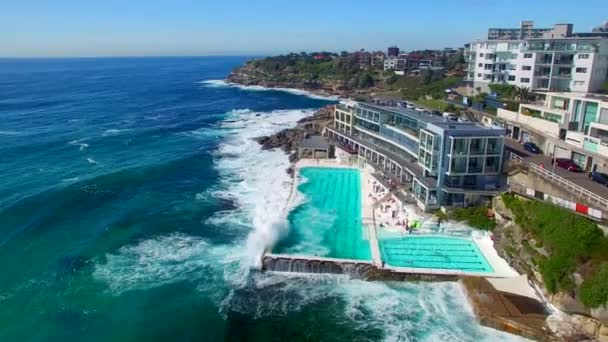 amazing aerial view of Sydney Bondi Beach pools, Australia. Video