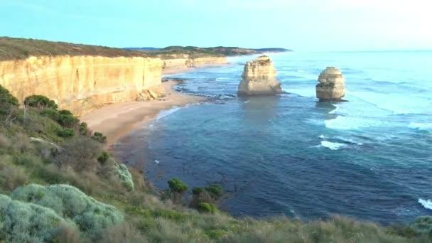 Panoramic aerial view of Great Ocean Road Coastline near Port Campbell, Victoria, Australia, video