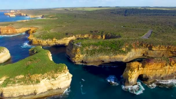 Panoramic aerial view of Great Ocean Road Coastline near Port Campbell, Victoria, Australia, video