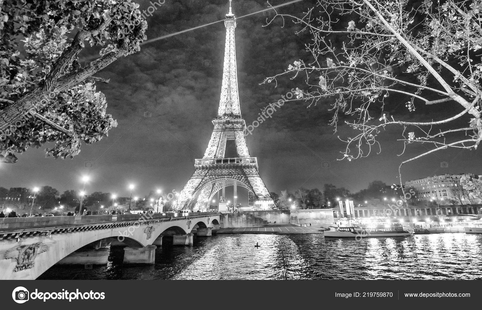 Paris France December 2012 Lights Eiffel Tower Night City Attracts