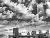 Fotografie Black and white view of Lower Manhattan skyline - New York, USA.