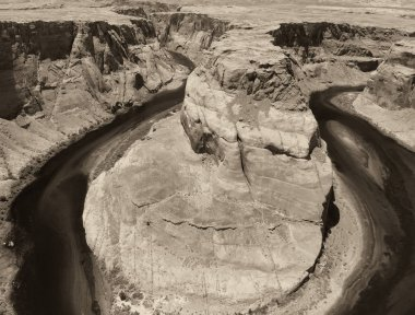 Amazing colors of Horseshoe Bend, aerial view of canyon and river.