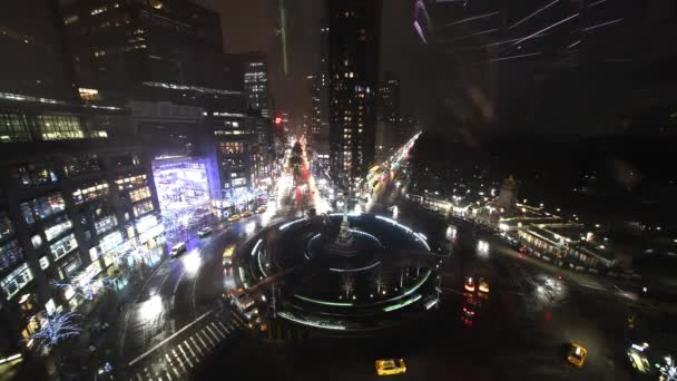 New York City at night. Columbus Circle traffic as seen from a high viewpoint in Midtown