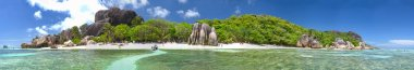 Beautiful panoramic view of Anse Source Argent Beach in La Digue, Seychelles. View from the sea.