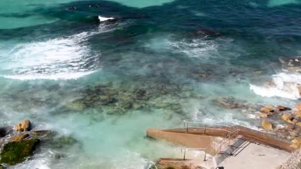 Aerial view of Bondi Beach pools and ocean, Sydney, Australia