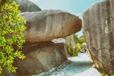 Polished rocks of beautiful Seychelles Island.