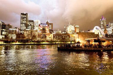 MELBOURNE - SEPTEMBER 6, 2018: Night city view of buildings along Yarra River. Melbourne attracts 15 million people annually.