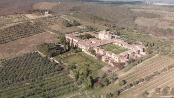 Csodálatos panoráma légi felvétel a Pontignano Charterhouse közelében Siena, Toszkána