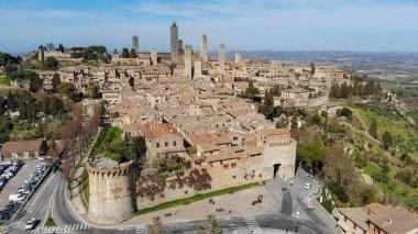 Beautiful aerial view of San Gimignano skyline, Tuscany. stock vector