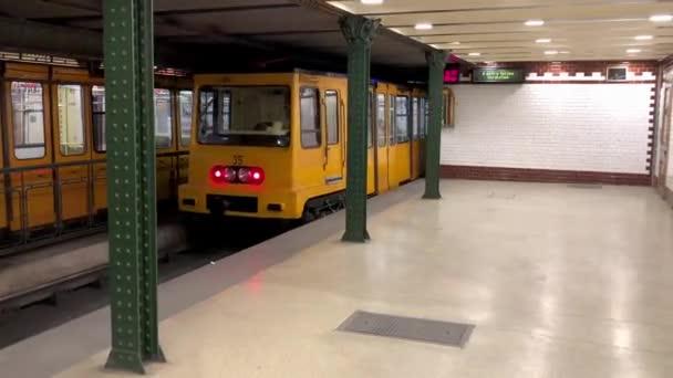 footage modern metro platform station with departing train