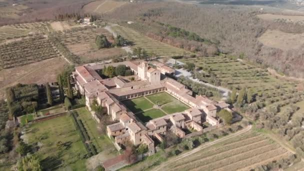 Amazing panoramic aerial footage of Pontignano Charterhouse near Siena, Tuscany