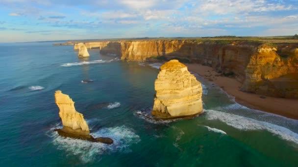 scenic aerial footage of Twelve Apostles rocks in Victoria, Australia