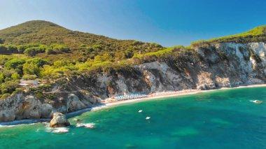 Sansone Beach, Elba Island. Aerial view of beautiful coastline on a summer day stock vector