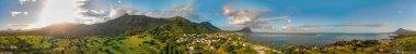 Amazing panoramic aerial view of Mauritius Island, Africa. stock vector