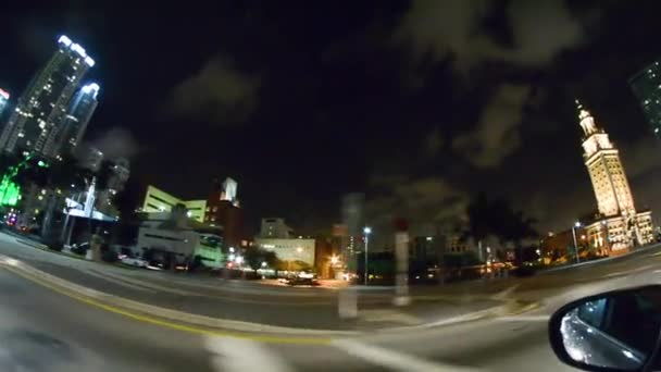 pov driving footage on street of miami at night