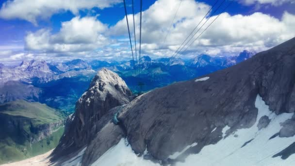 Slow motion of Marmolada Cable Car view in summer season, italian alps