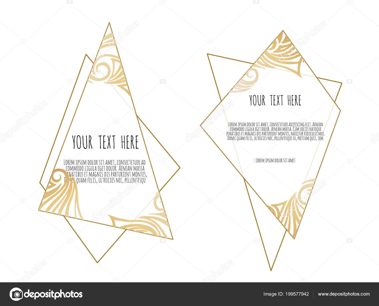 Set Of White And Gold Design Templates For Brochures Flyers Logo