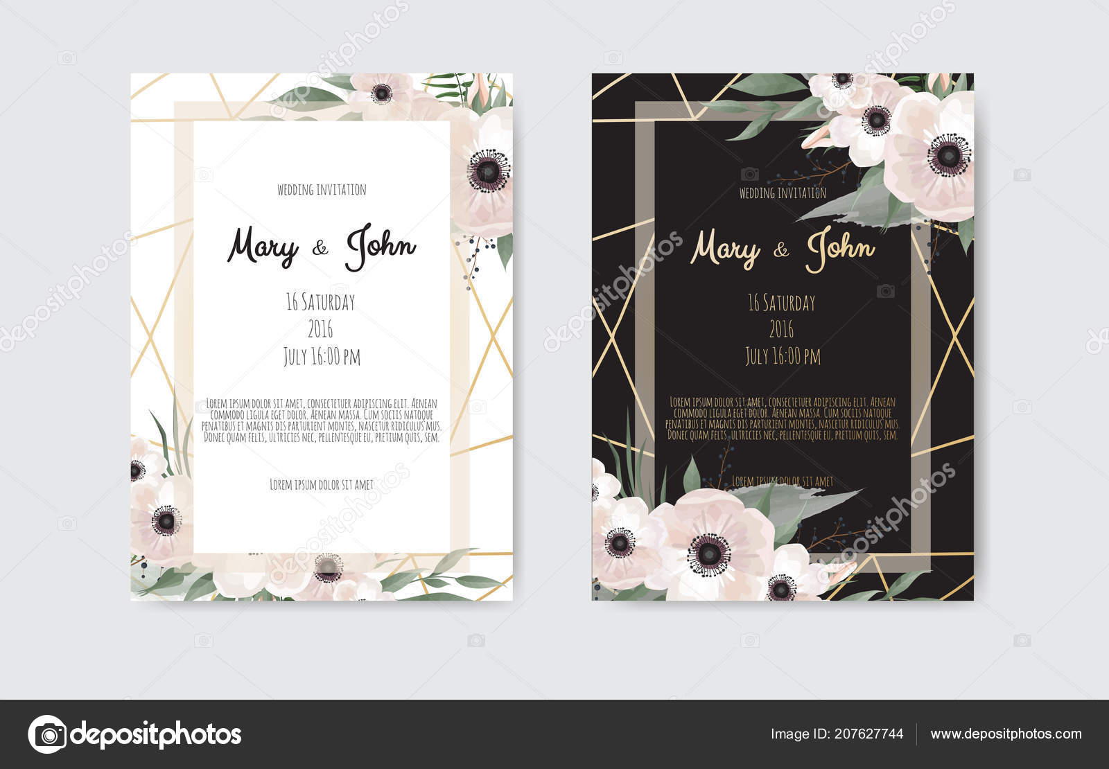 Botanical Wedding Invitation Card Template Design White Pink Flowers ...