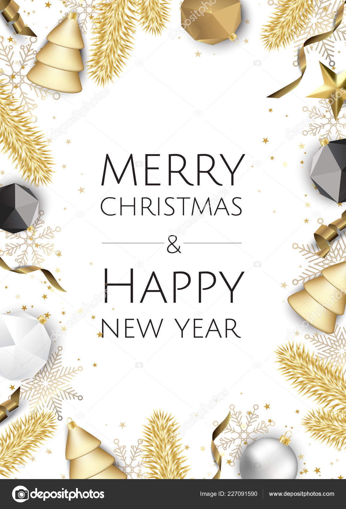 Christmas Greeting.Christmas Bright Background Golden Xmas Decorations Merry