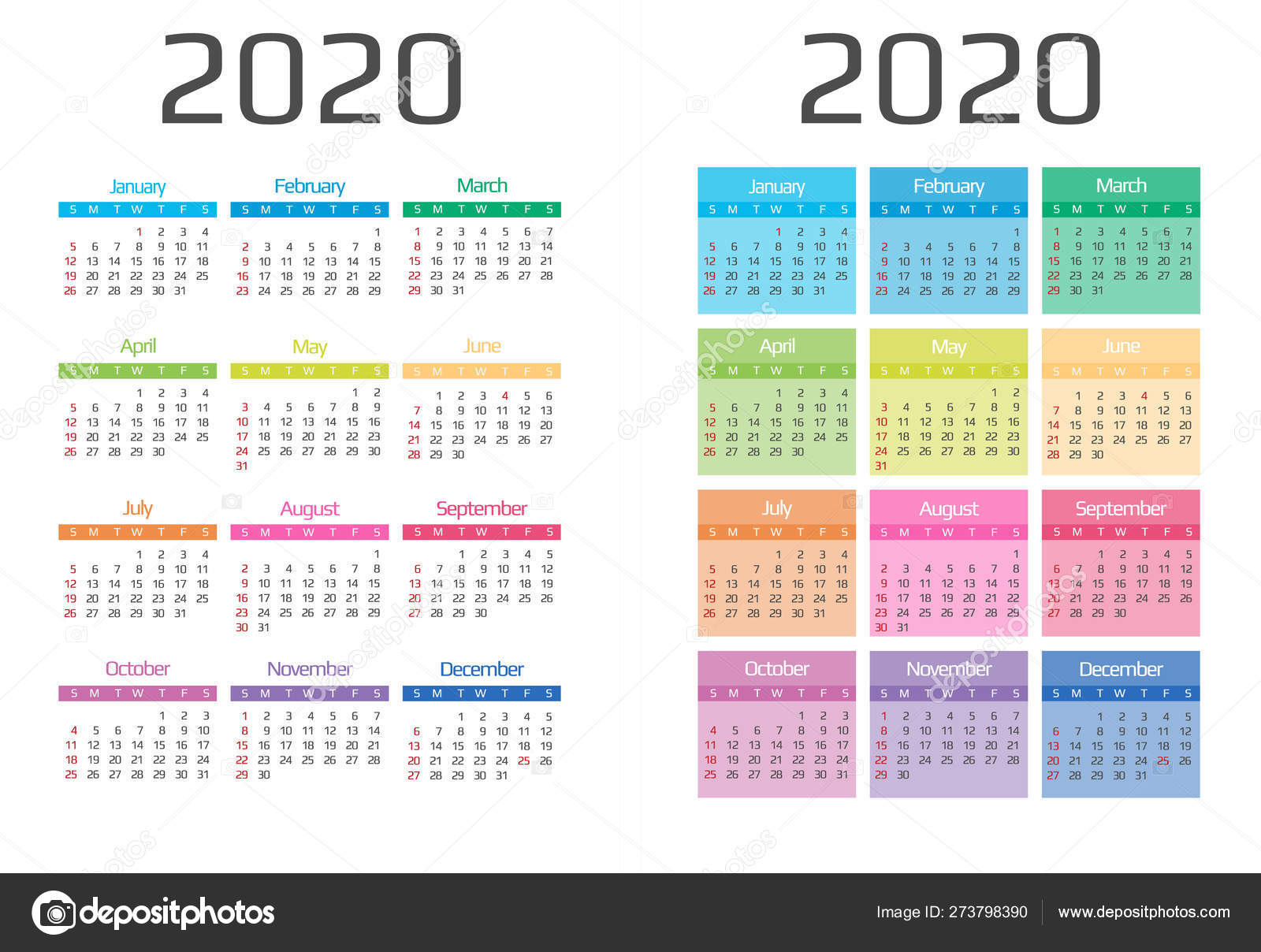 Calendar 2020 template. 12 Months. include holiday event ...