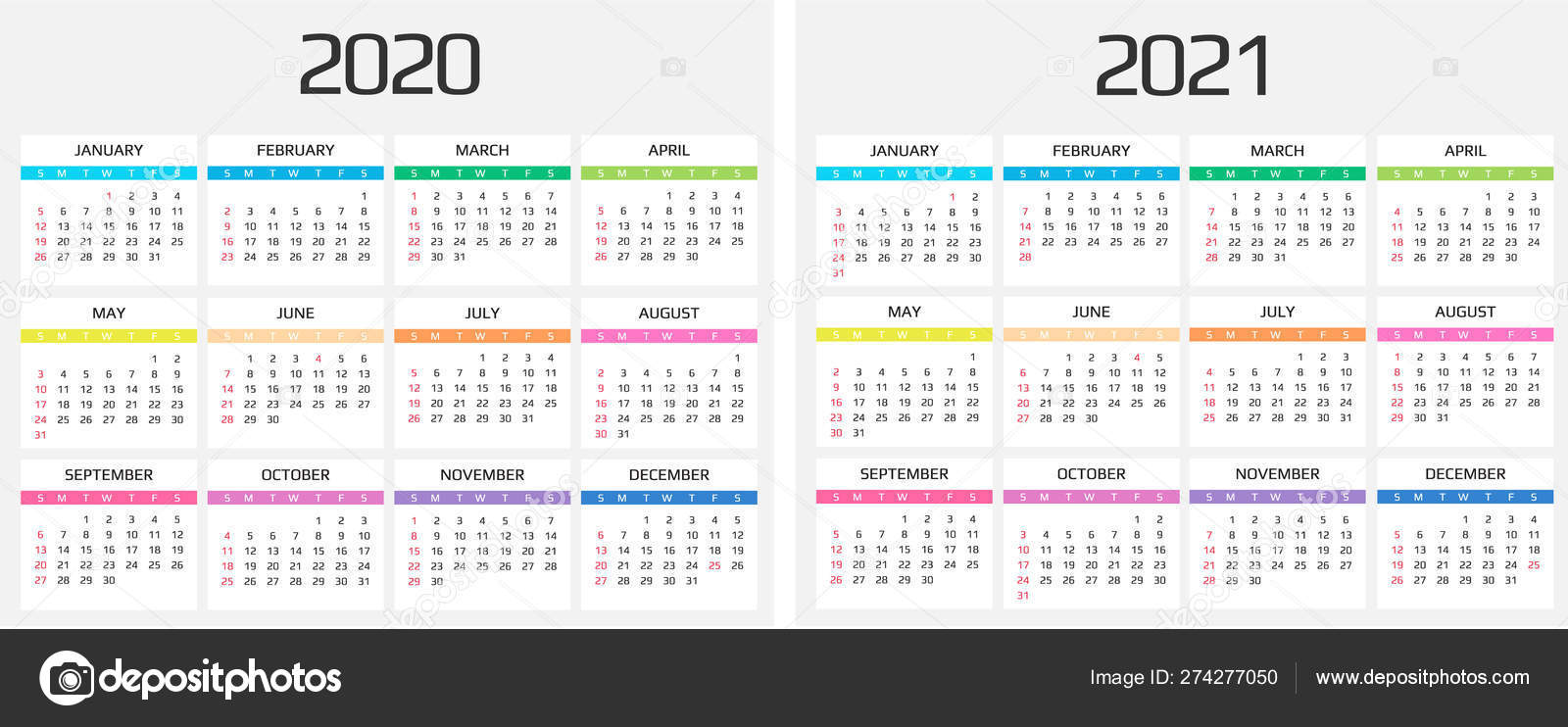 Calendar 2020 and 2021 template. 12 Months. include ...
