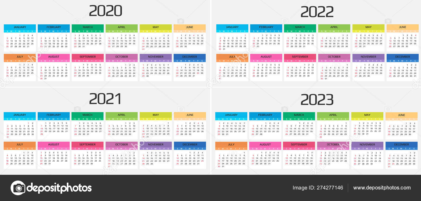 2022 Events Calendar.Calendar 2020 2021 2022 2023 Template 12 Months Include Holiday Event Week Starts Sunday Vector Image By C Anasteisha Vector Stock 274277146