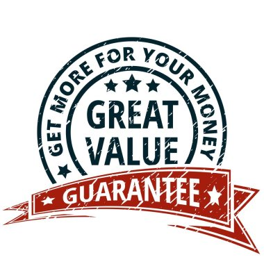 great value label with red ribbon, vector, illustration