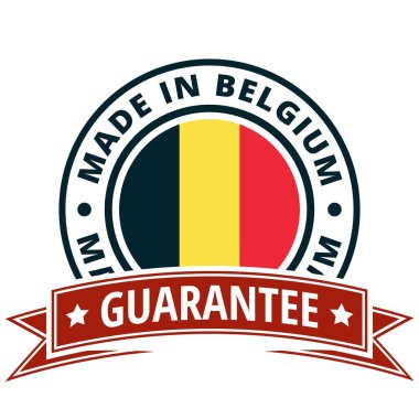 button with text Made in Belgium and flag , Vector, illustration