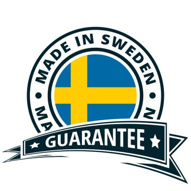 button with text Made in Sweden and flag , Vector, illustration