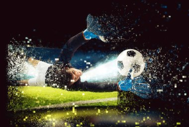 Pixelated image of a goalkeeper who try to catch the ball