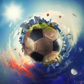 Globale Sicht der Welt des Fußballs. Fußball als planet