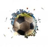 Globális nézet a világ futball. futball labda, mint a bolygó